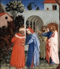 Fra Angelico: Jakobus befreit den Zauberer Hermogenes von den Dämonen, Ausschnitt aus dem Altarbild, 1430, in Kimbel Art Museum in Fort Worth in Texas / USA